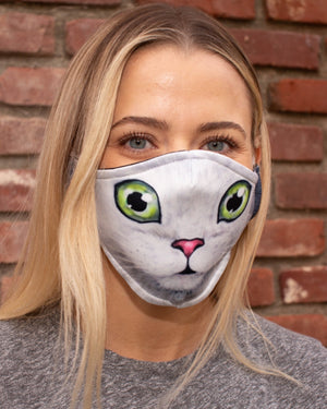 Adult and Kids Animal Cloth Face Mask - Cat Green Eyes