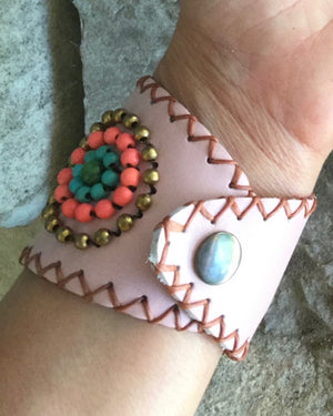 Channing Hand Beaded Leather Cuff