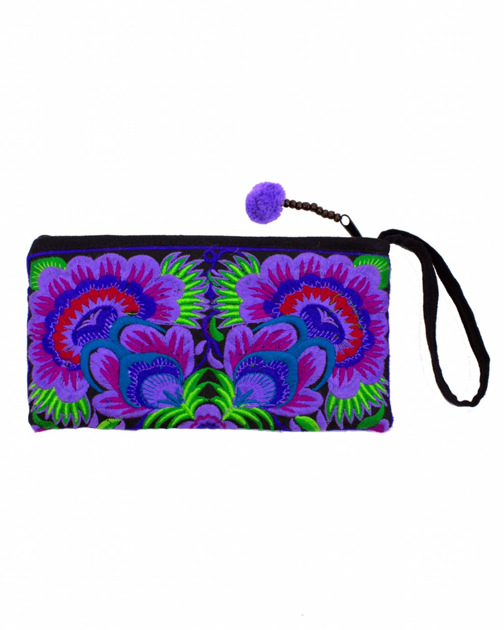Everyday Peony Flower Embroidery Wristlet