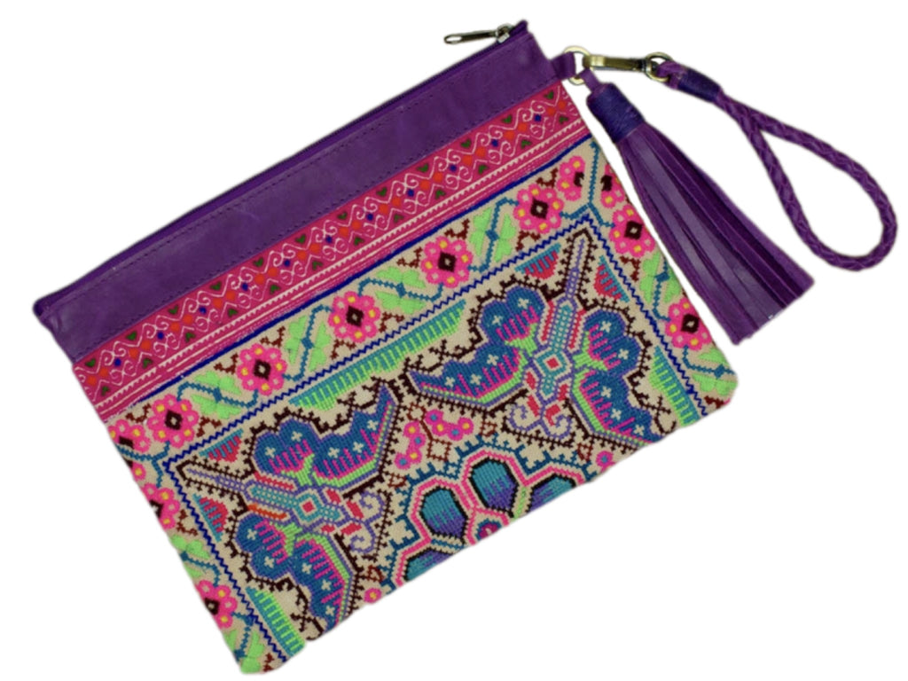 Sloan Everyday Clutch - Vintage with Purple Leather