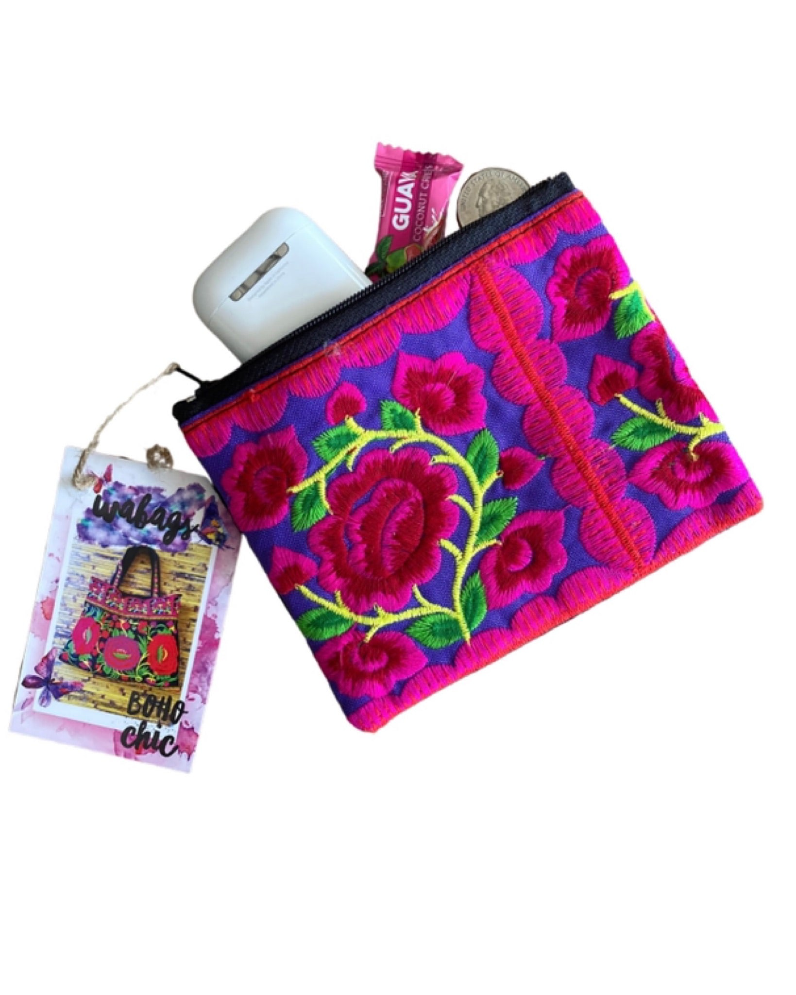Chrysanthmum Embroidery Change Purse