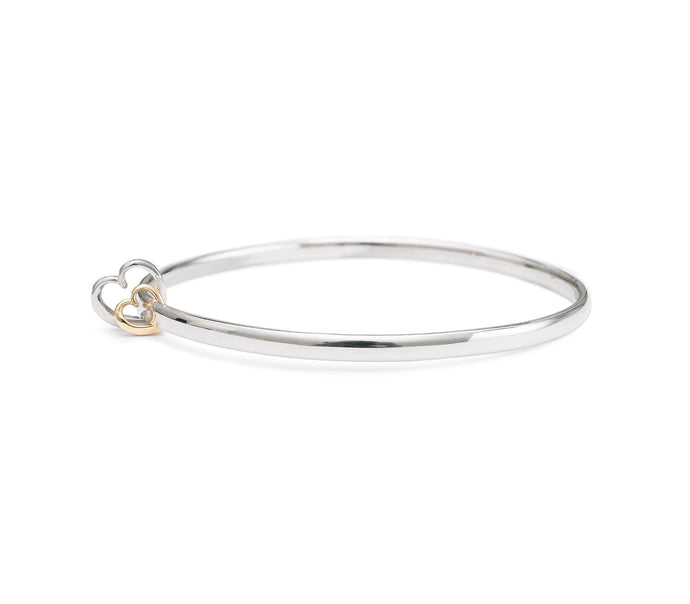 Andra Heart Duo Bangle Silver and Rose Gold