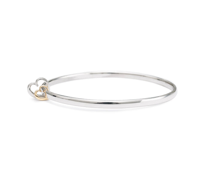 Andra Heart Duo Bangle Silver and Yellow Gold