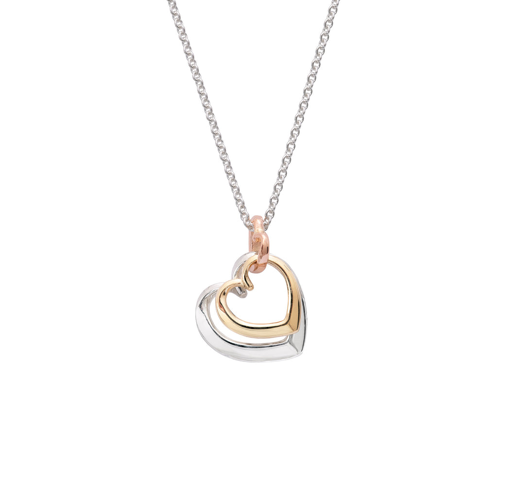 Andra Entwined Triple Heart Necklace Silver and Gold