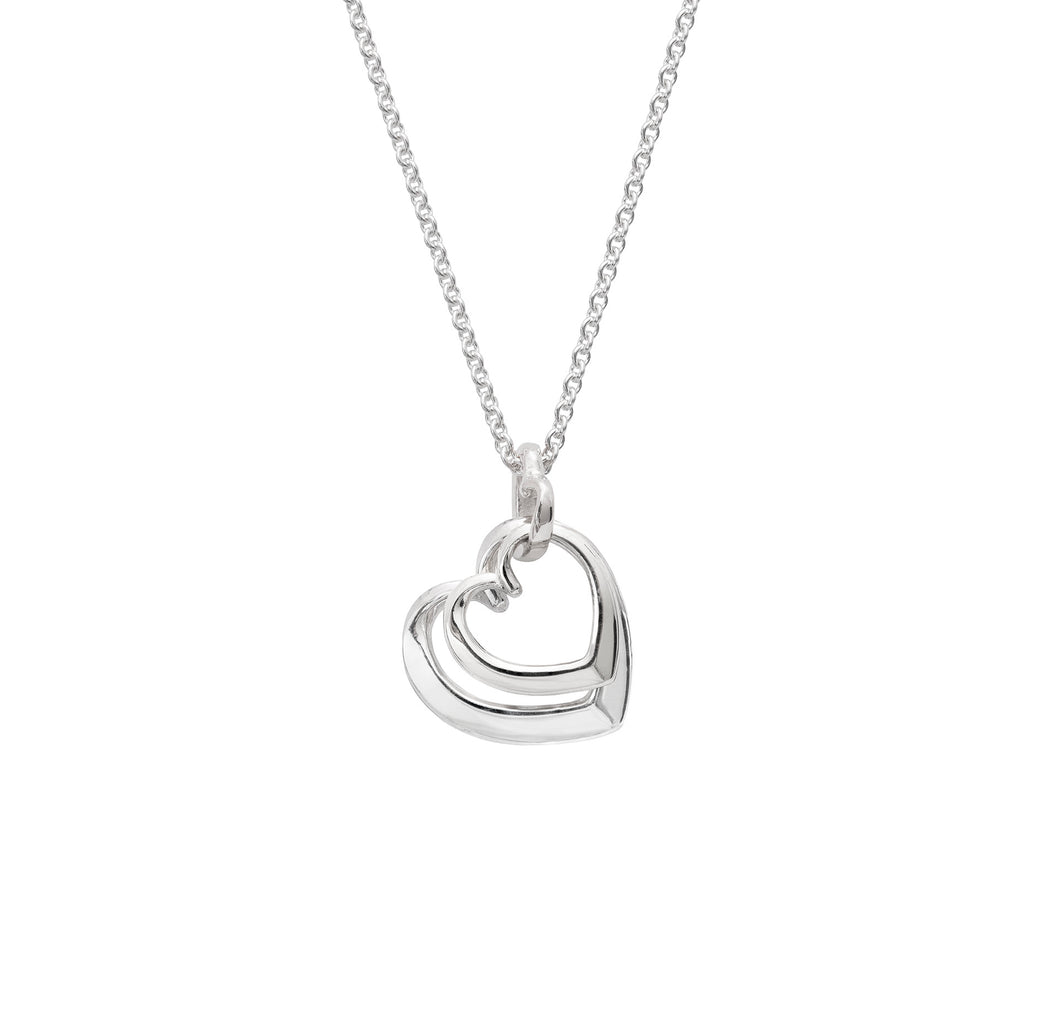Andra Entwined Triple Heart Necklace Silver