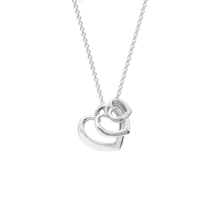 Andra Triple Heart Necklace Silver