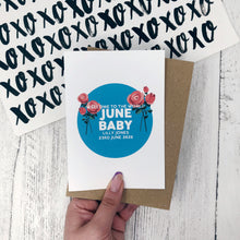 Personalised New Baby June Rose Flower Card