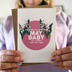 Personalised New Baby May Lily of the Valley Flower Card
