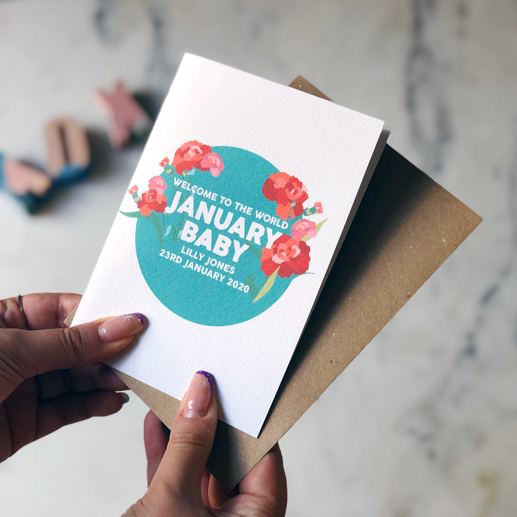 Personalised New Baby January Flower Card