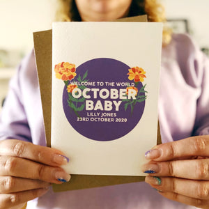 Personalised New Baby October Flower Card