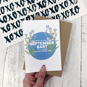 Personalised New Baby September Flower Card