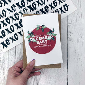 Personalised New Baby December Flower Card