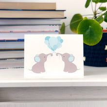 ***50% OFF***Blue Balloon Elephants Card