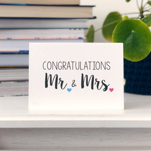Congratulations Mr and Mrs Wedding Card