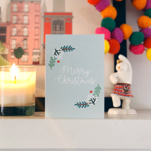 Charity Christmas Cards Pack of 8 Greenery Design