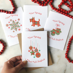 Charity Christmas Cards Pack of 8 Tartan Design