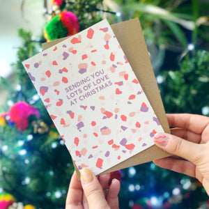 Colourful Christmas Card 'Sending You Lots of Love At Christmas'