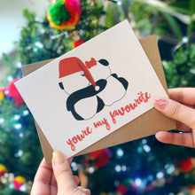 Cute 'You're My Favourite' Panda Santa Hat Christmas Card