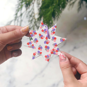 Personalised Colourful Christmas Star Decoration Silver