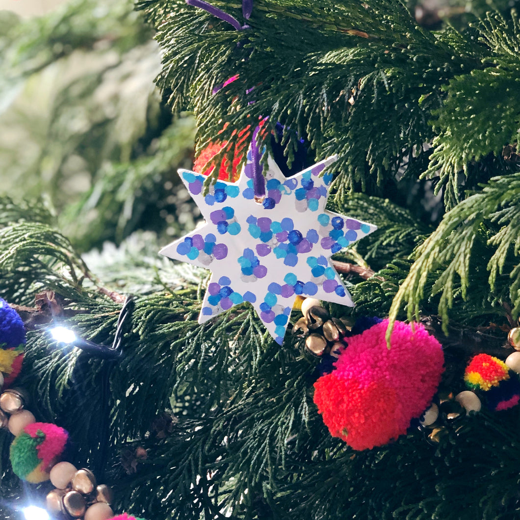 Personalised Colourful Christmas Star Decoration