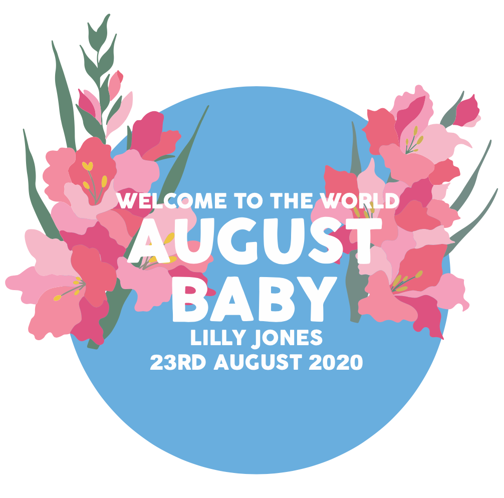 Personalised New Baby August Flower Card