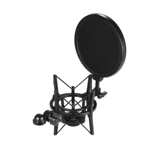 Univerdal Plastic Condenser Microphone Mic Shock Mount Holder Bracket Anti-Vibration With Pop Filter for  Studio Music Recording