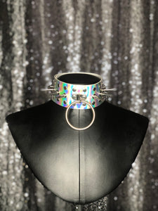 Hazard Silver Holographic Choker