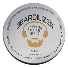 Beardilizer ® Beard Growth Conditioner And Softener Cream - Hypoallergenic Formula - Sandalwood - 4 oz