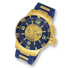 Men's Invicta Corduba Automatic Gold-Tone Watch with Blue Skeleton Dial (Model: 7269)