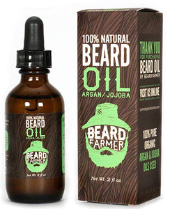 Beard Oil by Beard Farmer - All Natural Conditioner for Beard Growth, Unscented Organic Argan Oil and Jojoba Oil 2 Oz