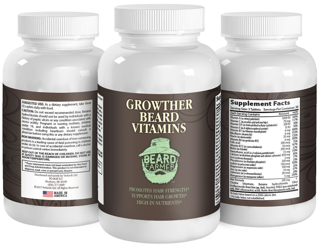 Beard Vitamin Bottle Showing all 3 sides