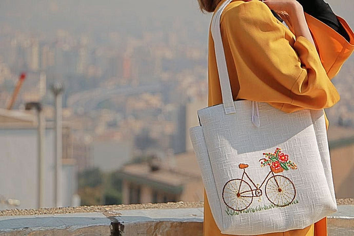 White Handmade Shoulder Bag with Embroidery