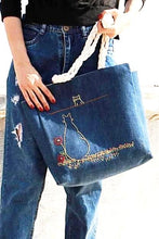 Load image into Gallery viewer, Navy Blue Jean Fabric with Embroidered Cats Shoulder Bag