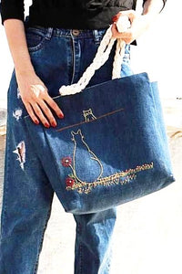 Navy Blue Jean Fabric with Embroidered Cats Shoulder Bag
