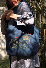 Load image into Gallery viewer, Navy Blue Jean Handmade Shoulder Bag with Embroidery