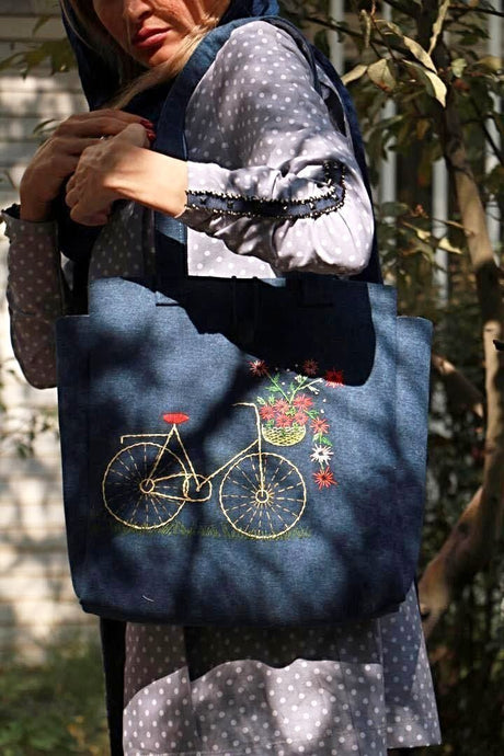 Navy Blue Jean Handmade Shoulder Bag with Embroidery