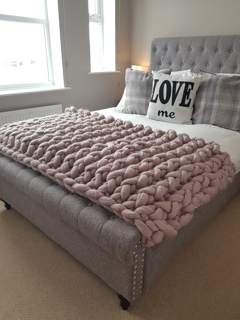 Chunky Knit Blanket - Dusty Pink