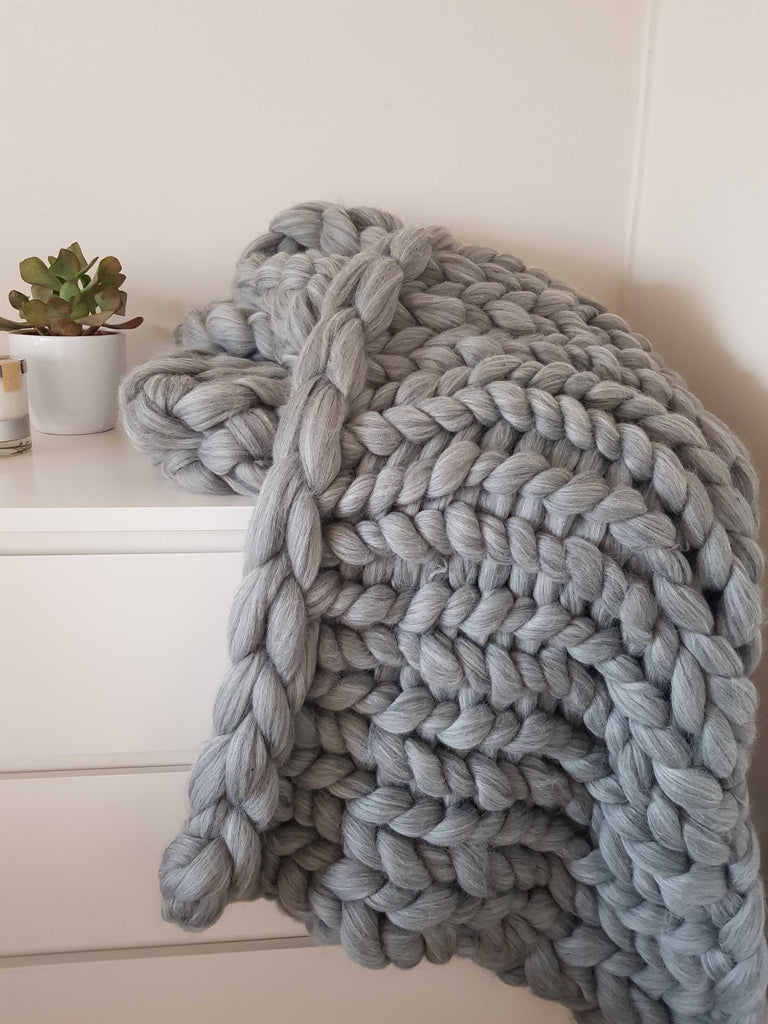 Chunky Knit Blanket Grey