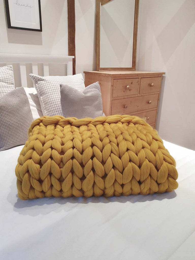 Chunky Knit Blanket - Mustard Yellow