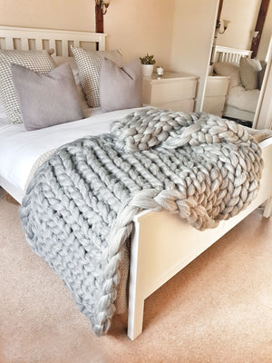Chunky Knit Blanket - Grey