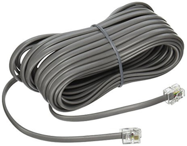 25 Foot Long Silver Satin 4 Pin Line Base Cord Avaya Nortel Norstar Meridian phone