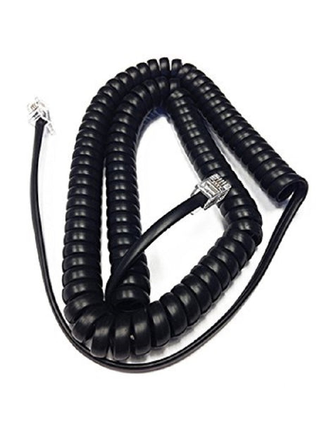 12 Foot Black Handset Receiver Curly Cord for Yealink IP Telephone