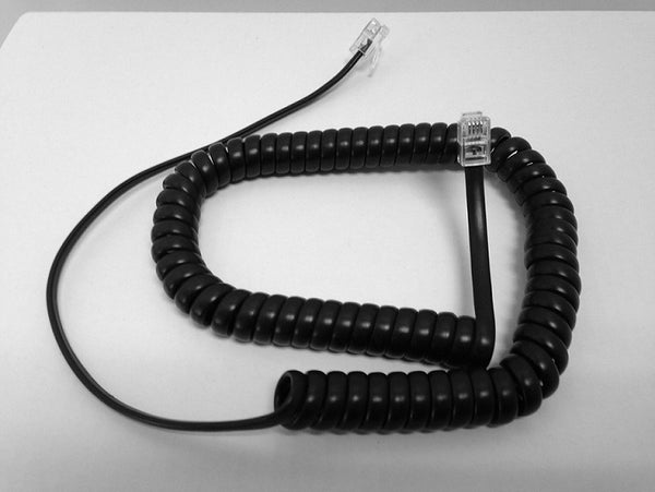 9 Foot Handset Curly Coil Cord for Avaya / AT&T / Lucent Phone (Flat Black)