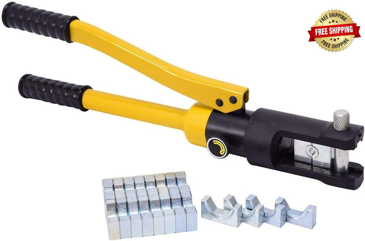 16 Ton Hydraulic Wire Professional Hydraulic Battery Cable Lug Crimping Tool Set w/11 Dies