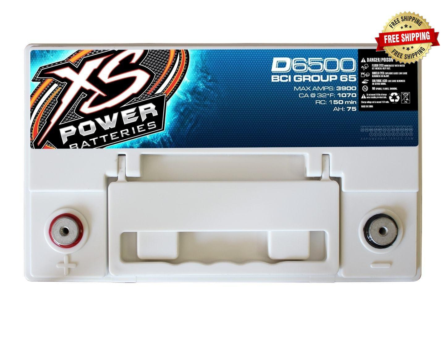 D6500 XS Power 12VDC AGM Car Audio Battery 3900A 75Ah Group 65