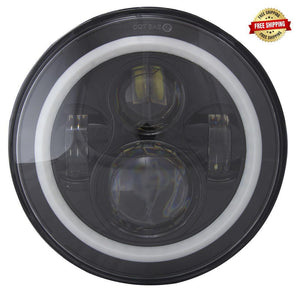 Motorcycle 7 Inch Round W/Angel Eye Halo Black Front 6-LED Headlight