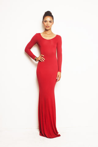 Vivien, Simple Long Sleeve Dress With Slit Back