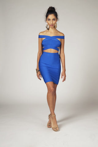 Noelle, 2 Piece Cutout Crop Top & Skirt Combo