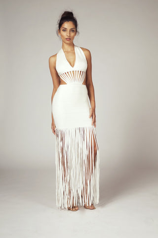 Kate, Cream Fringe Halter Cutout Dress