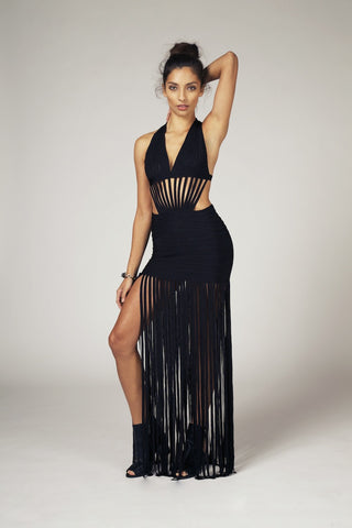 Kate, Fringe Halter Cutout Dress